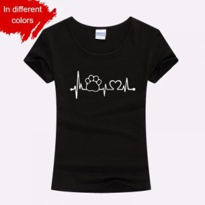 Paw Heartbeat Lifeline Dog Cat Slim Funny T Shirt For Ladies - Black