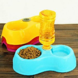 Cat Puppy Automatic Water Dispenser With Food Dish Bowl