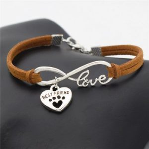 Faux Leather Silver Pets Paw Charms Pendant Love Bracelet